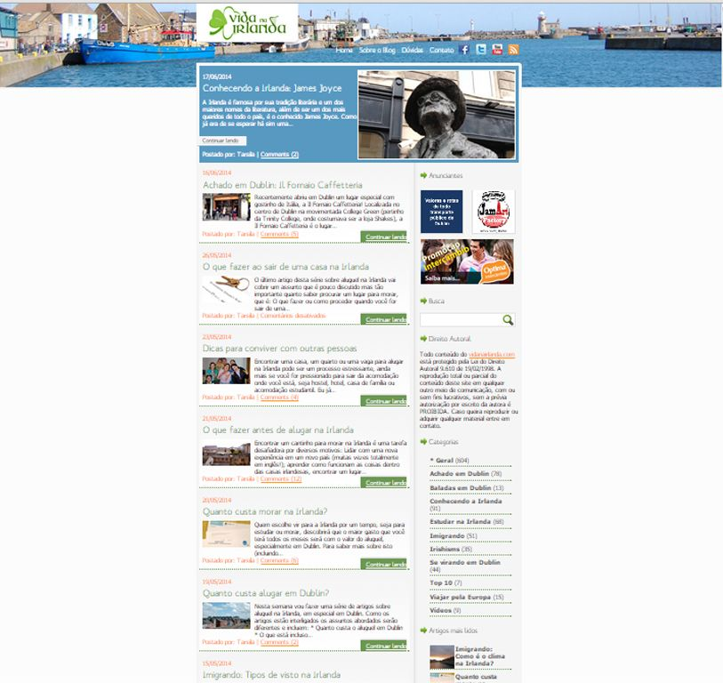 this site is intended for Brazilians who come and live in Ireland, is simple but has good information and good navigation, liked the head, is organized, but I think it should have more creativity and color