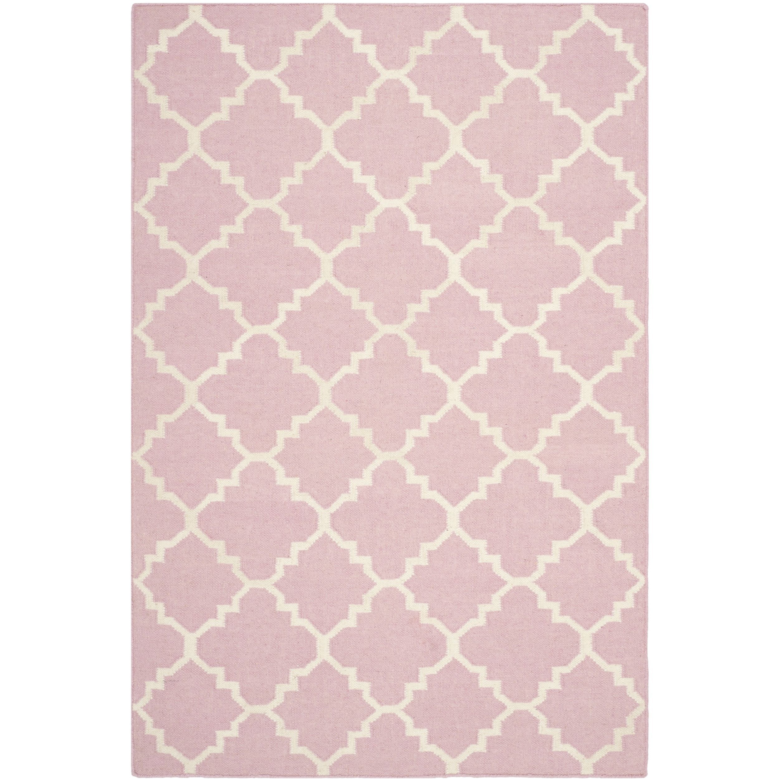 Safavieh Handwoven Moroccan Reversible Dhurrie Pink/ Ivory Wool Area Rug (6' x 9') | Overstock.com Shopping - The Best Deals on 5x8 - 6x9 Rugs