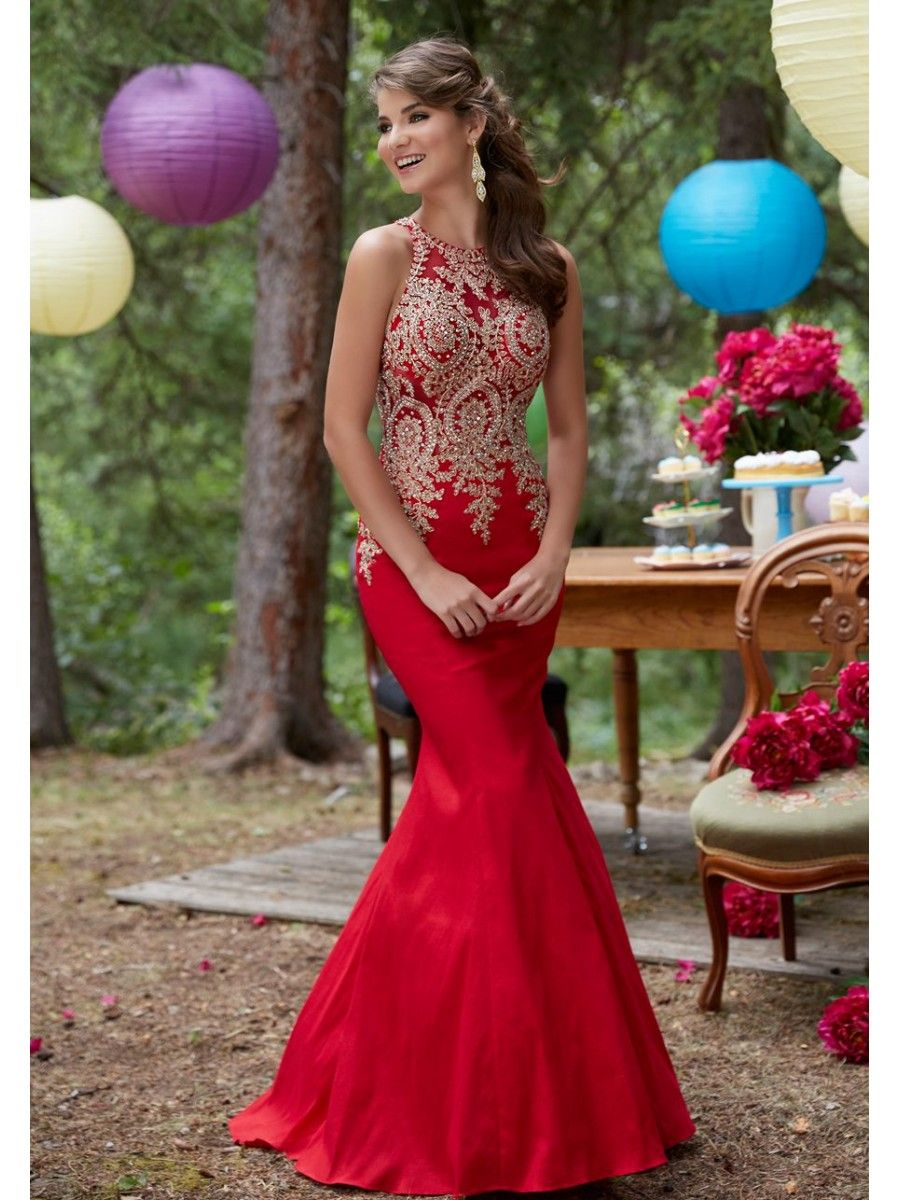 Affordable Mermaid Long Red Jewel Prom Dresses with Gold Lace ...
