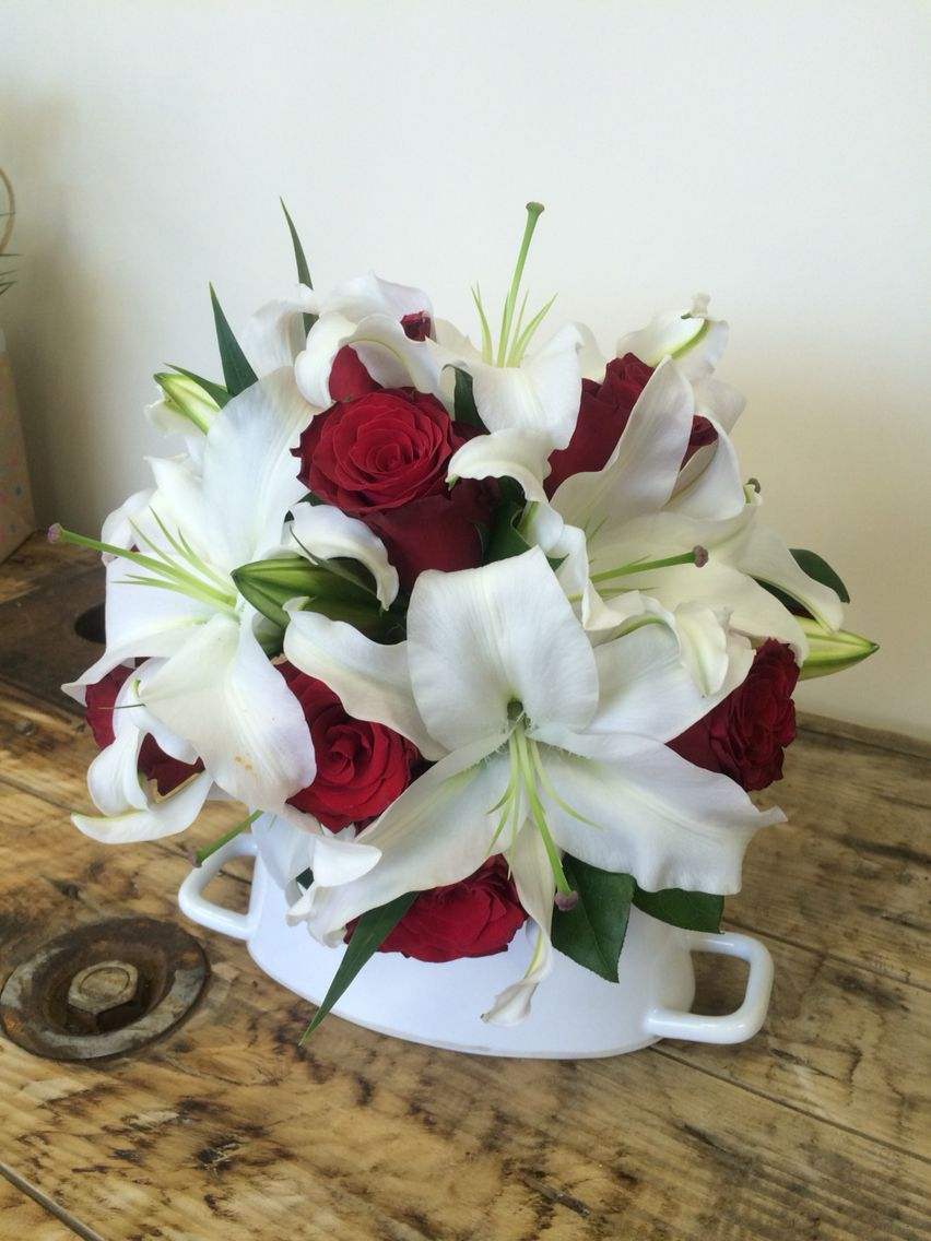 Red Rose And White Lily Wired Bouquet Bridal Bouquets Red Roses