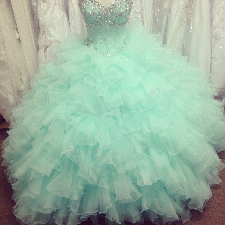 Gorgeous mint colored quincea era dress quinceanera for Mint color wedding dress