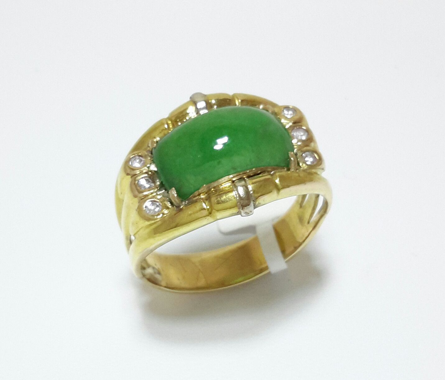 Natural color jade ring, unisex jade ring, green color jade ring, arch shape jade ring, jade ring, man jade ring