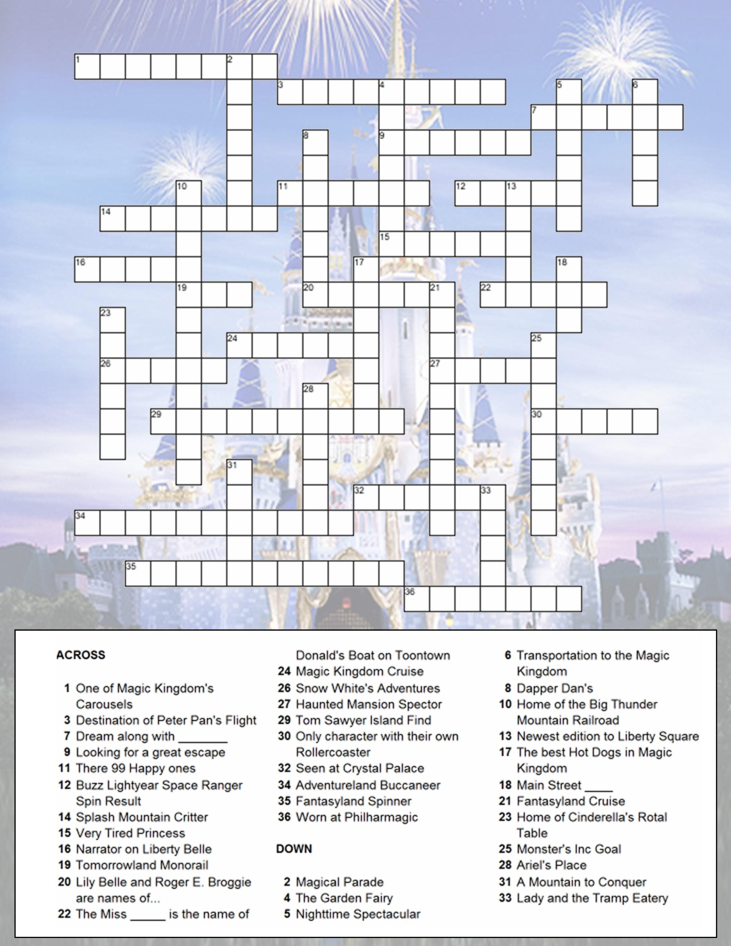 Magic Kingdom crossword puzzle for activity book