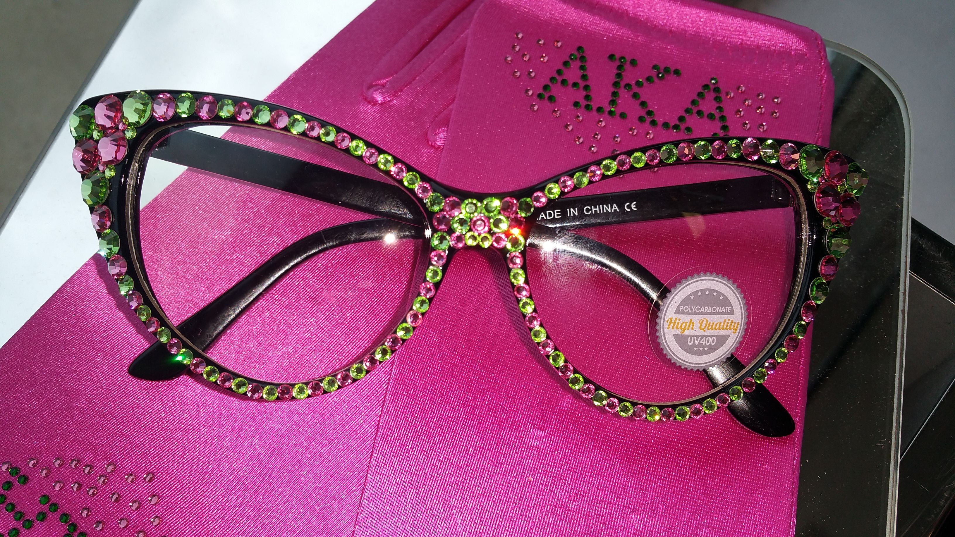 ef1cb5c8505 Pink and Green Rhinestone Glasses Alpha Kappa Alpha