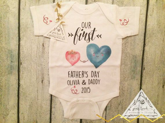 14194460 FIRST FATHER'S DAY baby Onesie® one piece creeper by ThePineTorch ...