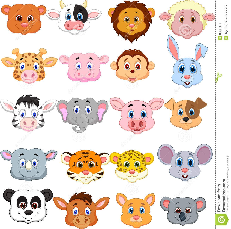 Vector of cute Cartoon animal head icon. Description from