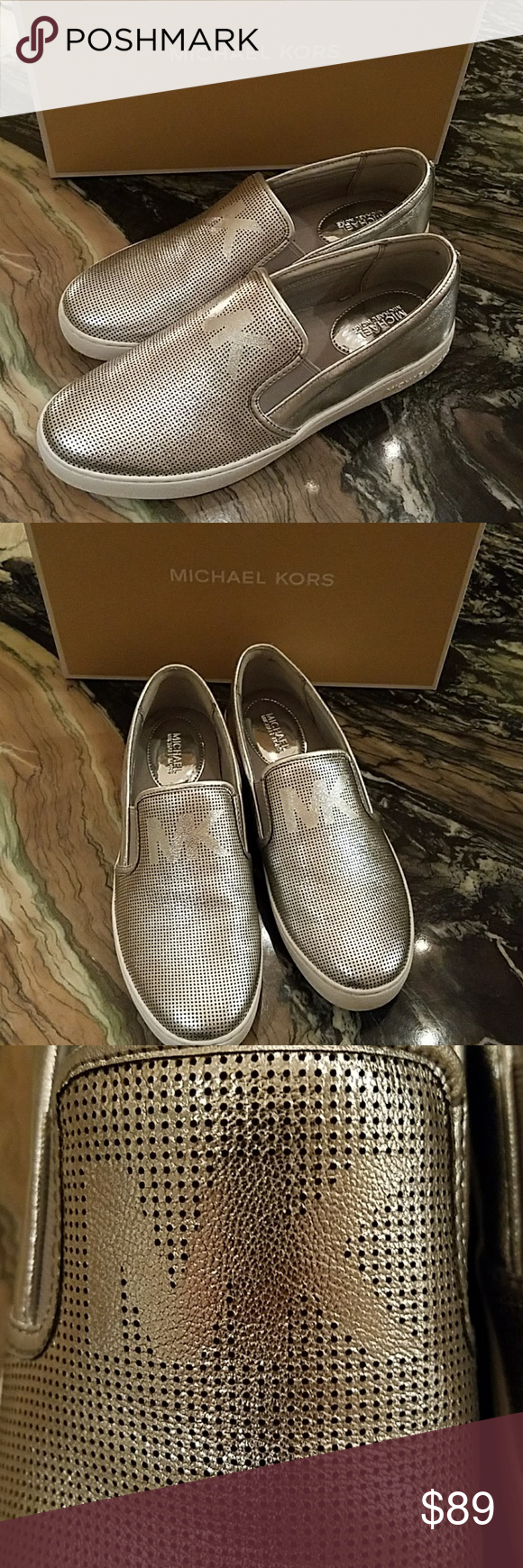 Michael Kors Keaton Slip On Silver