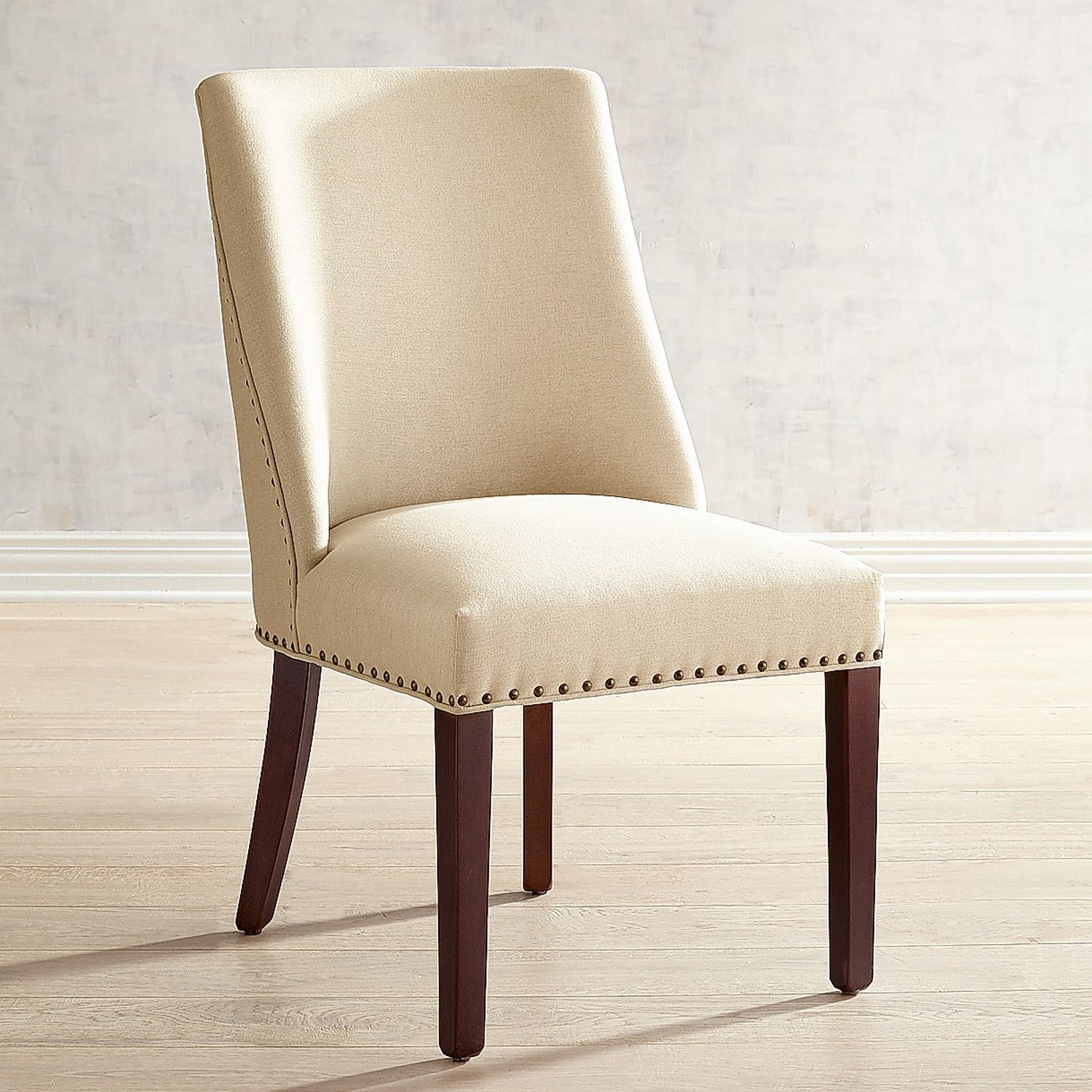 Corinne Linen Dining Chair with Black Espresso Wood