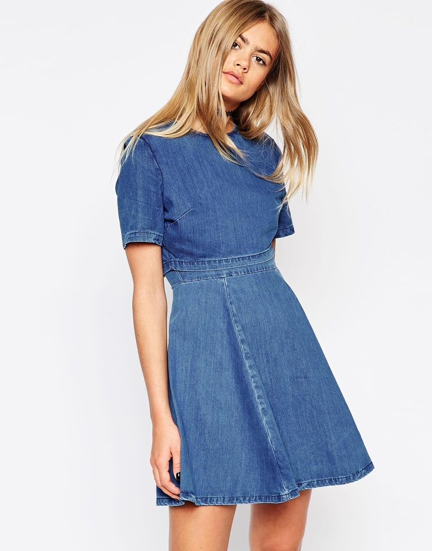 ASOS+Denim+Crop+Top+Skater+Dress | My Imaginary Closet | Pinterest ...