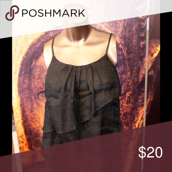 Layered silky black tank top Perfect for going out summer nights. Adjustable straps. Wilfred brand Tops Camisoles