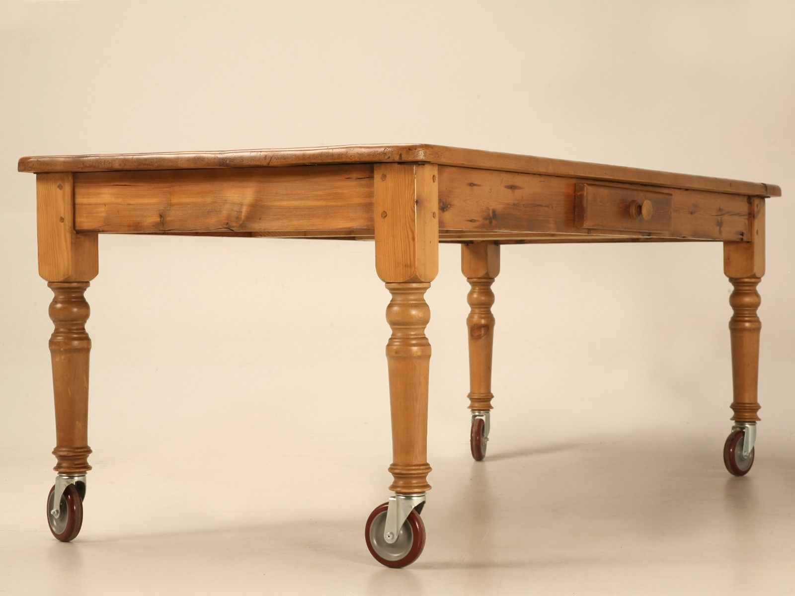 Rustic 84 Inch Handmade English Pine Table With Drawer And Casters