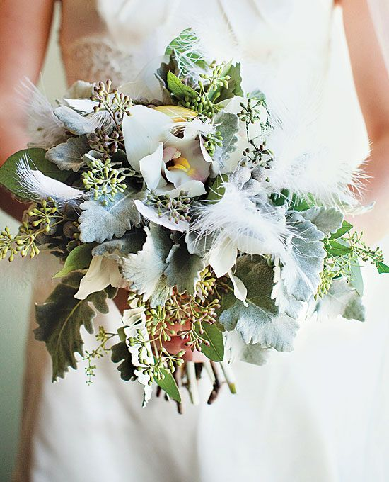 Brides How Much Do Wedding Bouquets Cost Bouquet Of Seeded Eucalyptus Dusty Miller Brunia Berries Cymbidium Orchids And White Feathers 200