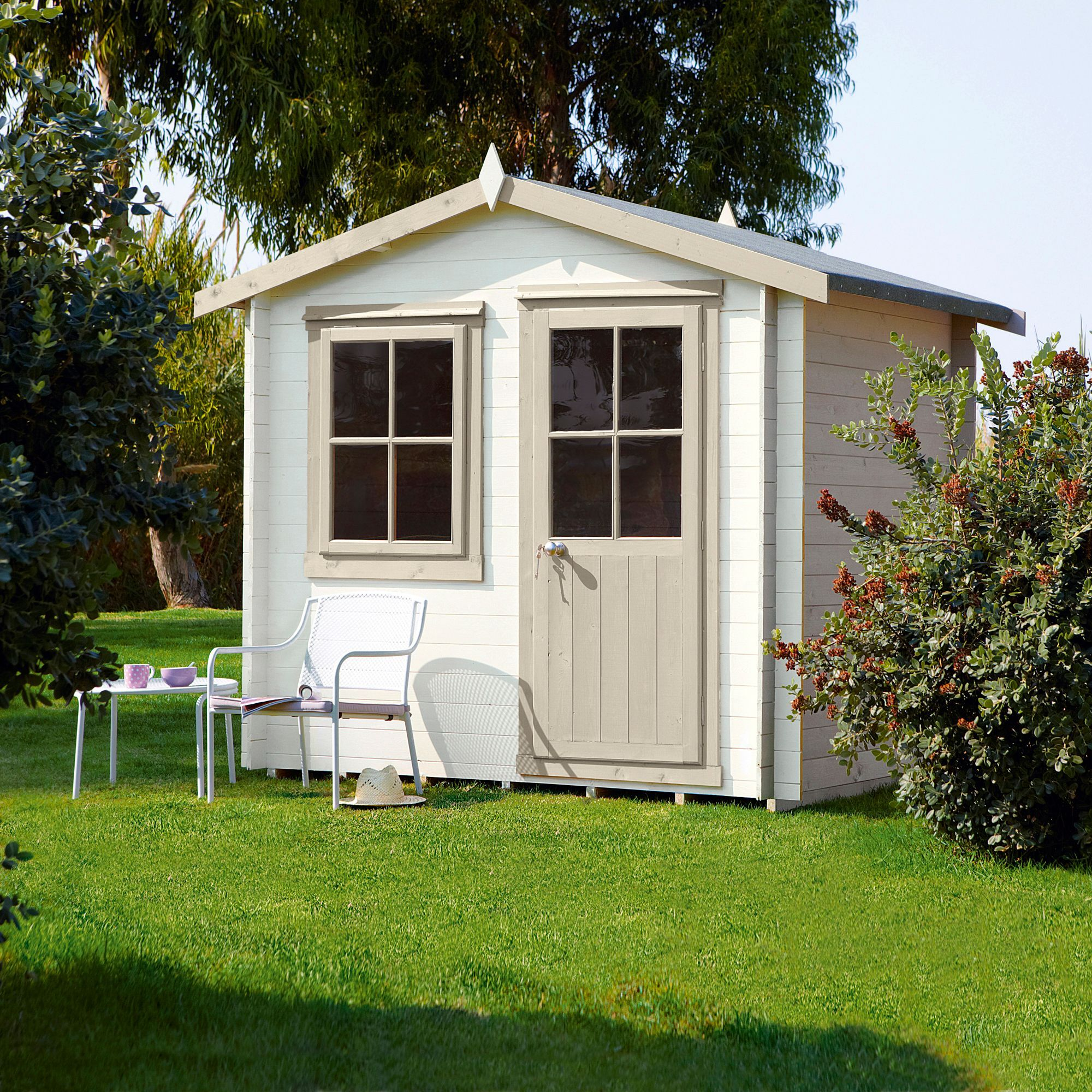 Garden Sheds B Q 8x6 hartley 19mm tongue & groove timber log cabin base included