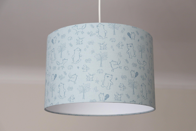 Lampenschirm Kinder Kinderlampe Waldtiere Kinderzimmerlampe Tiere Lampe Blau Lamp Shade Lamp Decor