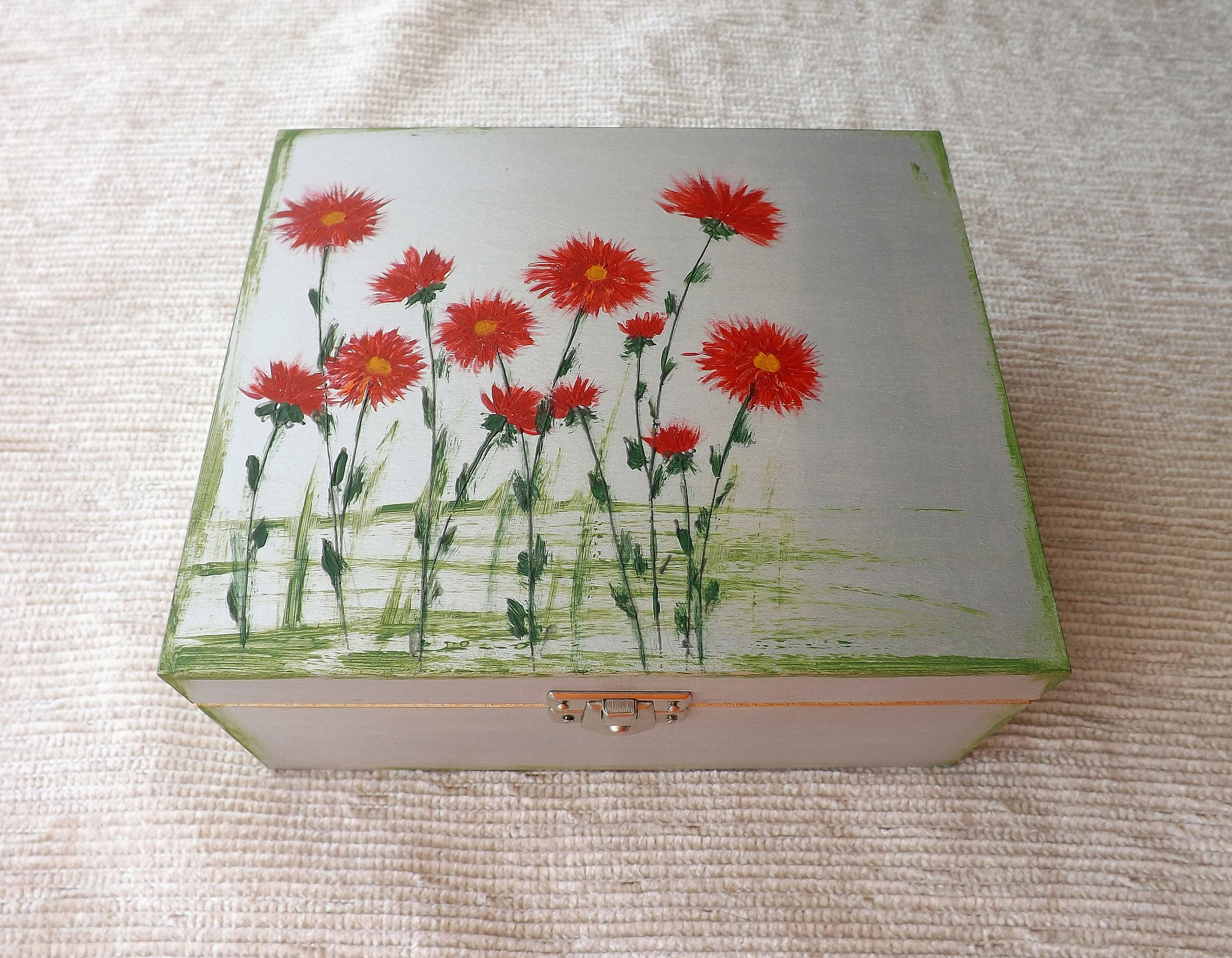 Custom Wooden Floral Tea Box Hand Painted Personalized Tea Bag