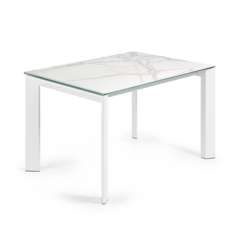 Table Ceramique 140 X 90 Cm Allonge 60 Cm Masta Blanc Marbre