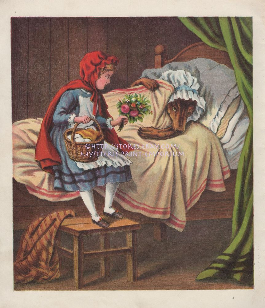 Little Red Riding Hood-Wolf-Grandma-Fairy Tale-1870 ANTIQUE ART PRINT-Picture