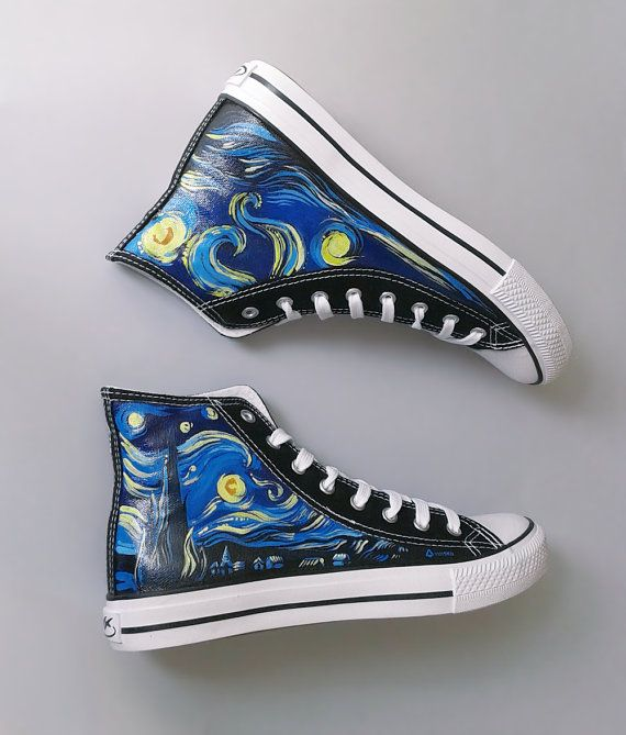 Hand Painted Sneakers Starry Night Van Gogh Theme