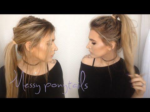 Messy Ponytails 2 In 1 Hair Tutorial Hair Tutorial Messy Ponytail Hairstyles Messy Ponytail Tutorial