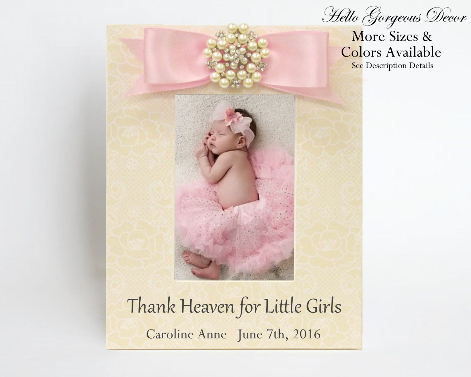 Baby Picture Frame Gift for New Baby Girl Personalized Baby Shower ...