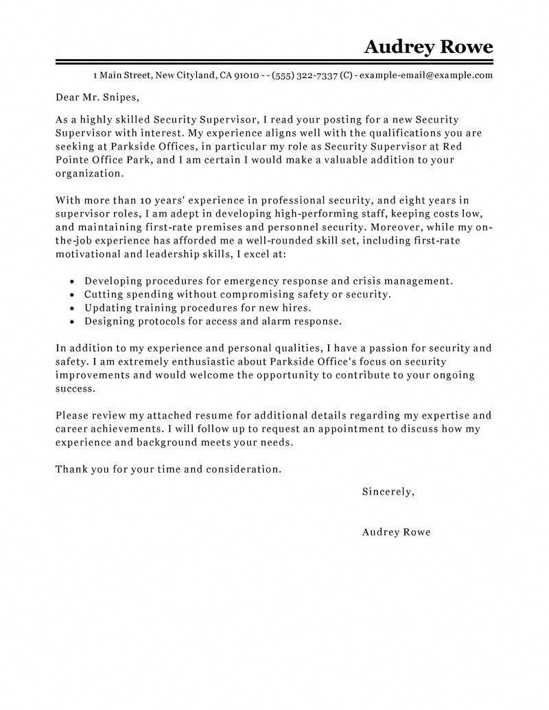 Security Supervisor Cover Letter Sample