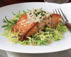 Seared Salmon with Calvados Cream Sauce on Frisée