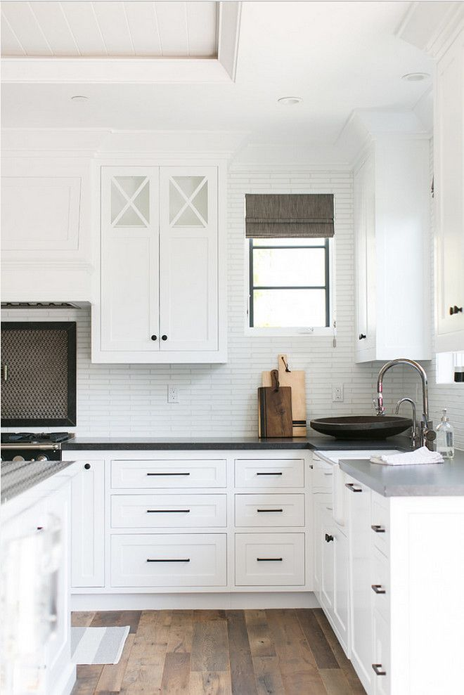 colors and backsplashblack knobs and white cabinets   Kitchen  in 2019  Black kitchen