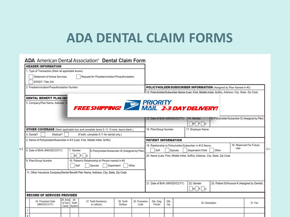 Ada Dental Insurance Paper Claim Form Dental Dental Insurance