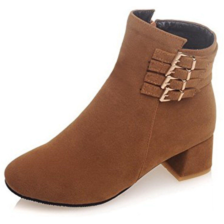 Women's Zipper Round Closed Toe Kitten Heels Imitated Suede Low-top Boots