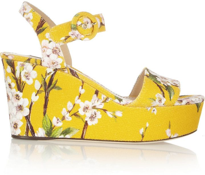 5102870c8ba Dolce   Gabbana Blossom-print canvas wedge sandals on shopstyle.co ...