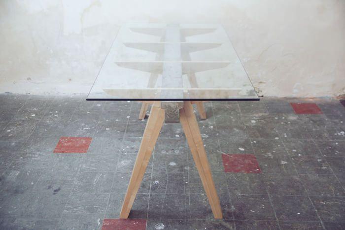 Beam desk le bureau bois béton verre studio temper