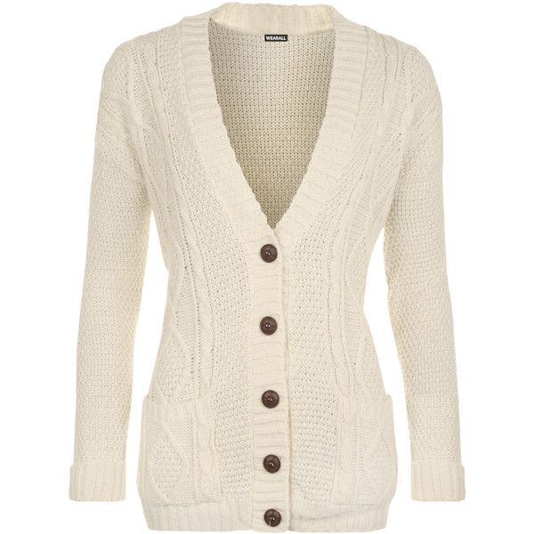 WearAll Cable Knit Boyfriend Cardigan (370 ARS) ❤ liked on ...