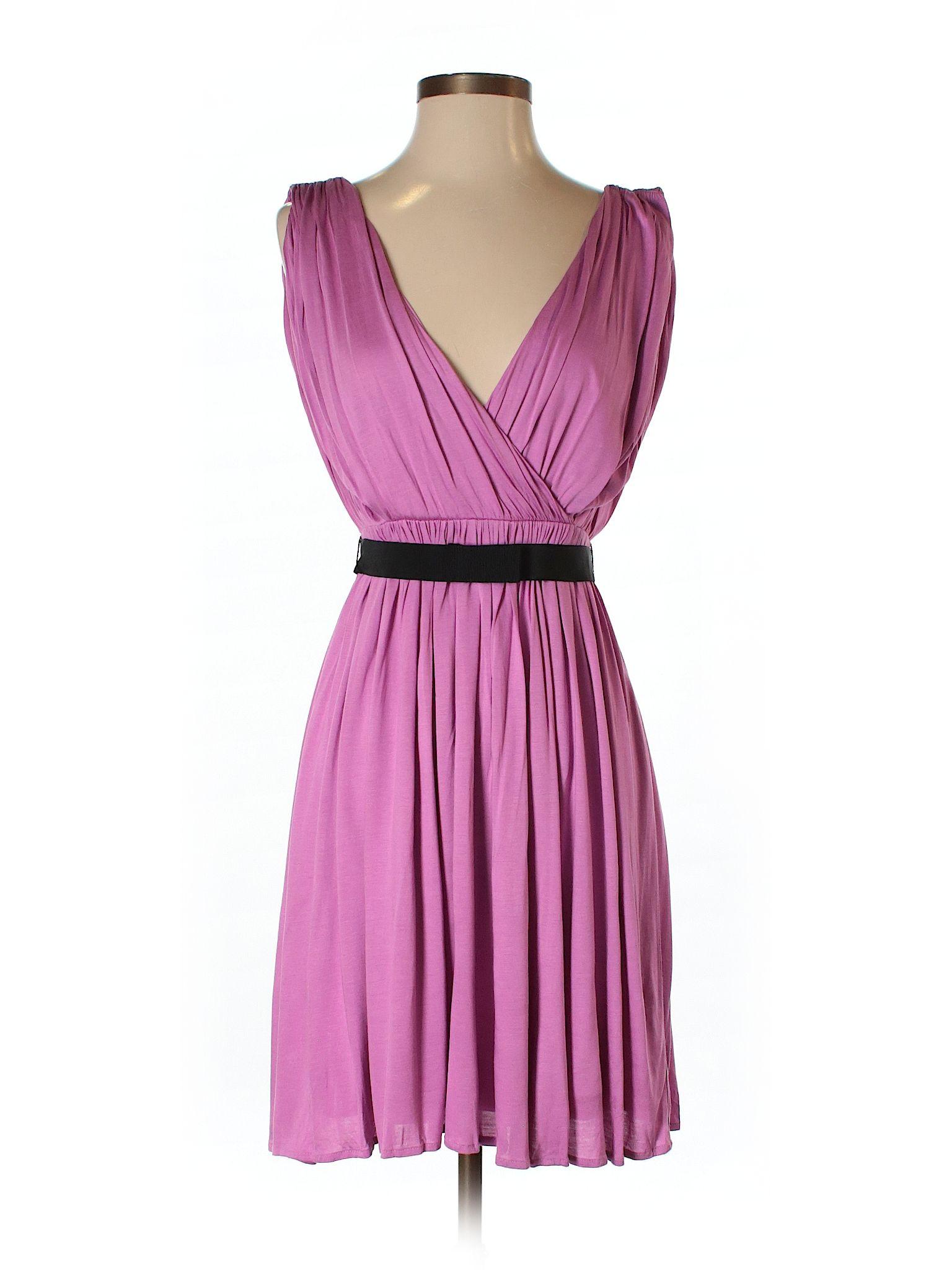 Ann Taylor LOFT Casual Dress: Size 0.00 Purple Women\'s Dresses - $21.99
