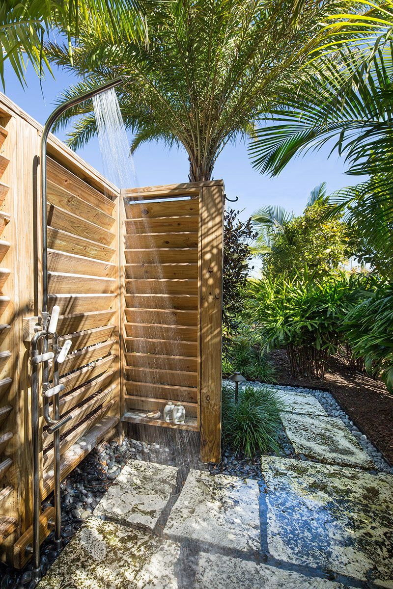 Outdoor Showers Can Be Private Semi Private Or Exposed Depending On How You Plan On Usin Tropical Architecture Outdoor Shower Landscape Architecture
