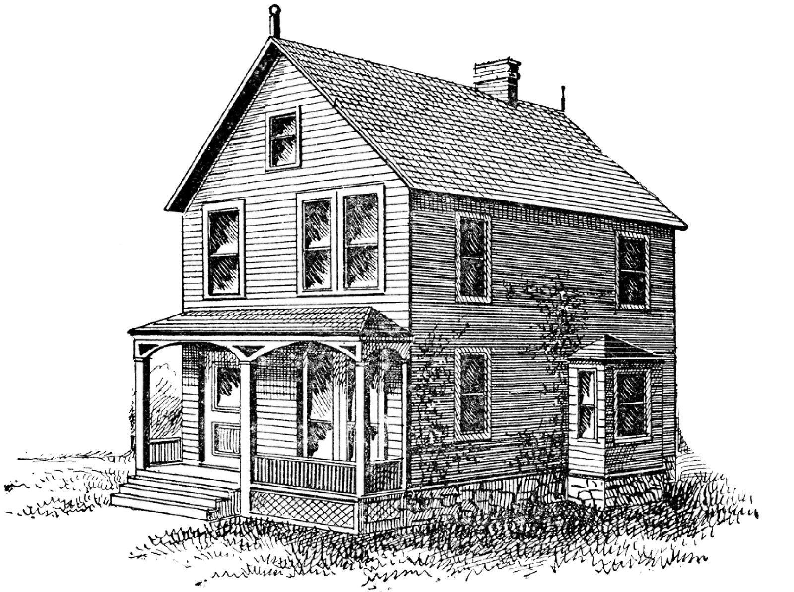 Free Digital Stamp Old House Image Png 1 600 1 193 Pixels Digital Stamps Old Farm Architecture Drawing