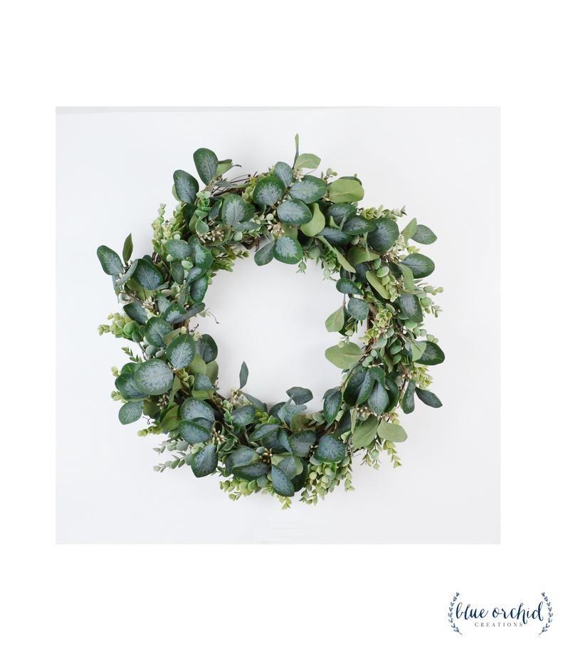 Photo of Eucalyptus wreath, peasant wreath, green wreath, front door wreath, artificial green wreath, artificial eucalyptus wreath, green