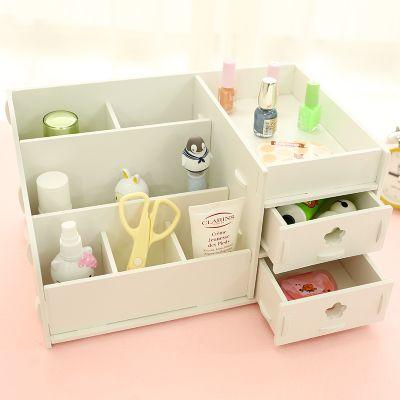 Diy Modern White Wooden Storage Box Desk Organizer For Cosmetics Desktop Storage Shelf Cabinet Wood Makeu Diy Wood Desk Diy Desktop Organizer Desk Organization