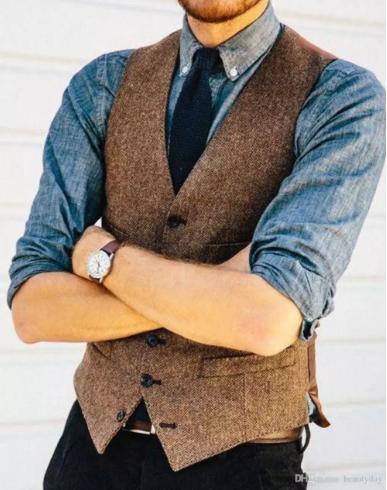 2018 Country Farm Wedding Brown Wool Herringbone Tweed Vests Custom Made  Groom Vest Slim Fit Mens Suit Vest Waistcoat Dress Real Imag 47cf7a137634