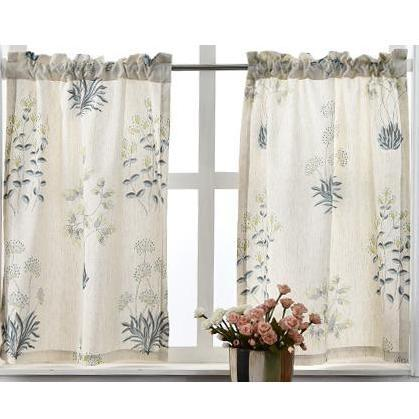 Rustic Printed Leaves Short Curtain Panels For Kitchen Panel