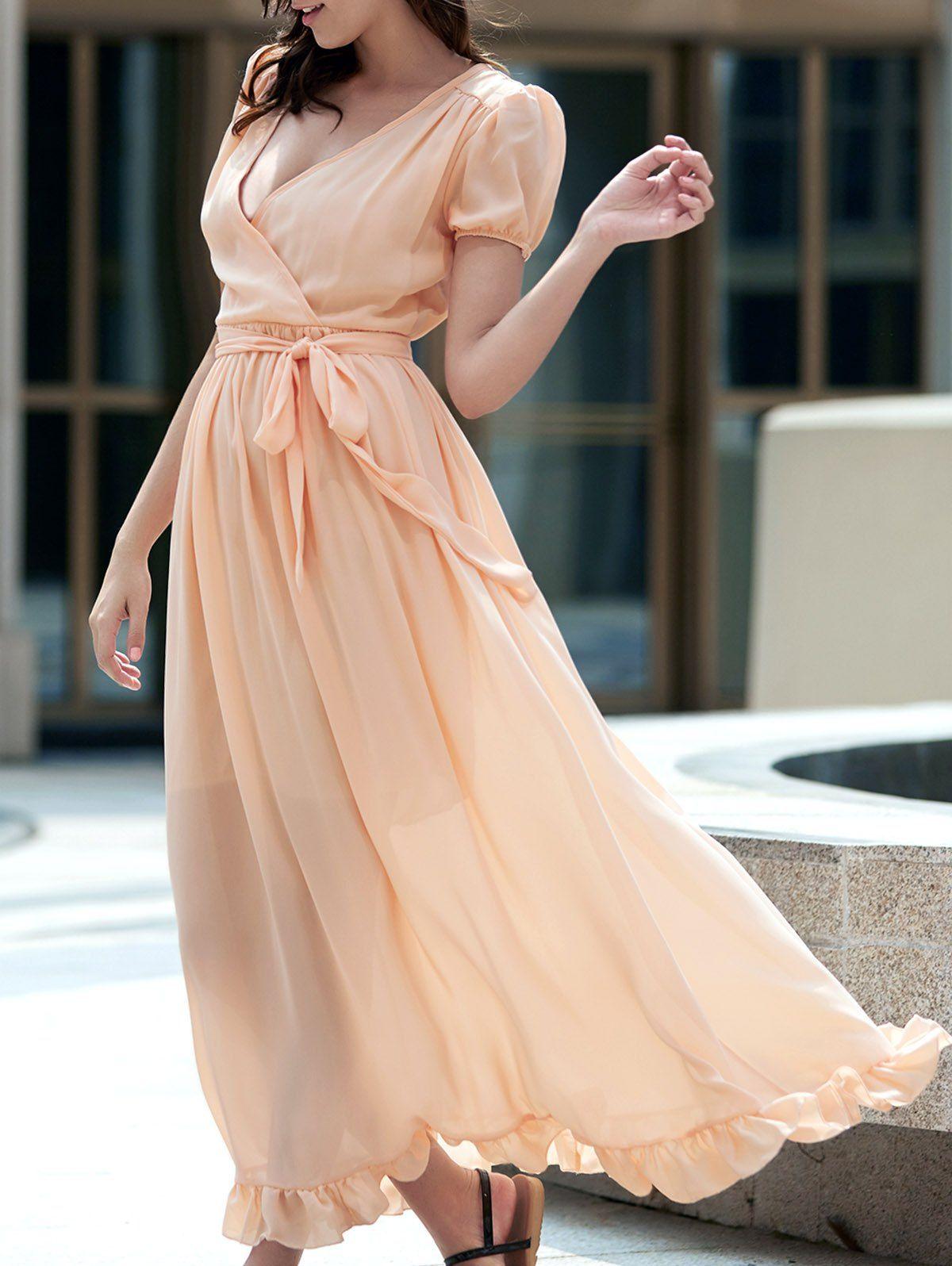 Ladylike short sleeve plunging neck self tie belt ruffled maxi dress