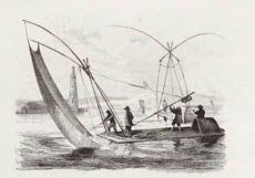 Balsa de pesca en Manila y Banka, barco de paso. M. D'Urville.