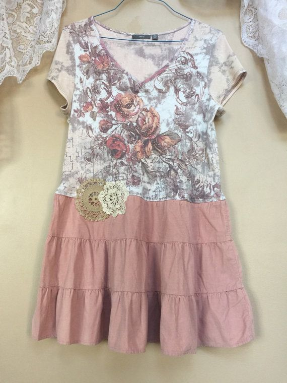 3f89fcc4ca Upcycled Romantic Shabby Chic Pink Champagne Rose Floral Print Tunic Top