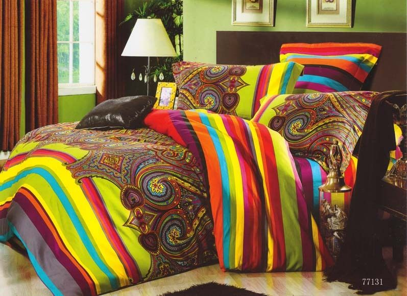 $60 cotton bedding raibow color 4pcs -ZZKKO