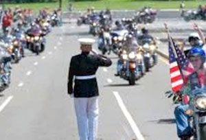 Saluting Marine At Rolling Thunder
