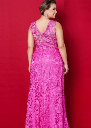 Hotpink Round Neckline Lace Floor Length Plus Size Evening Dress Prom Dresses Mother Of The Bride Dresses Vestidos Mae Da Noiva Vestidos Vestido Formal