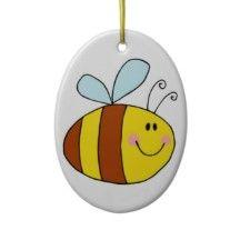 happy flying honeybee honey bee cartoon ornament