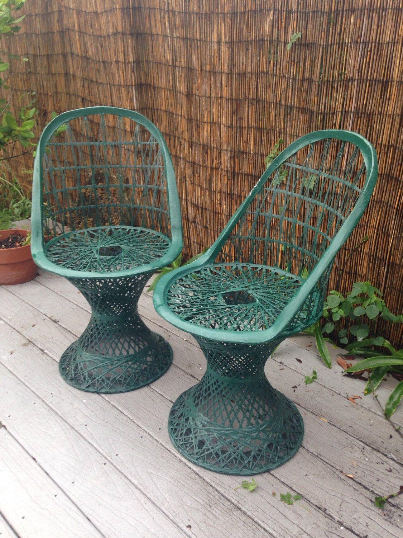 Vintage Russell Woodard girar sillas de patio de fibra de