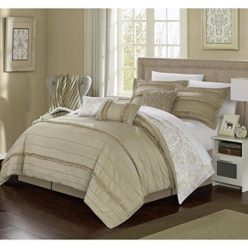 Beige Pleated Ruffled Comforter King Set Brown Bohemian Ombre Ruffles  Pattern Overlapping Ruched Hippie Themed Filigree
