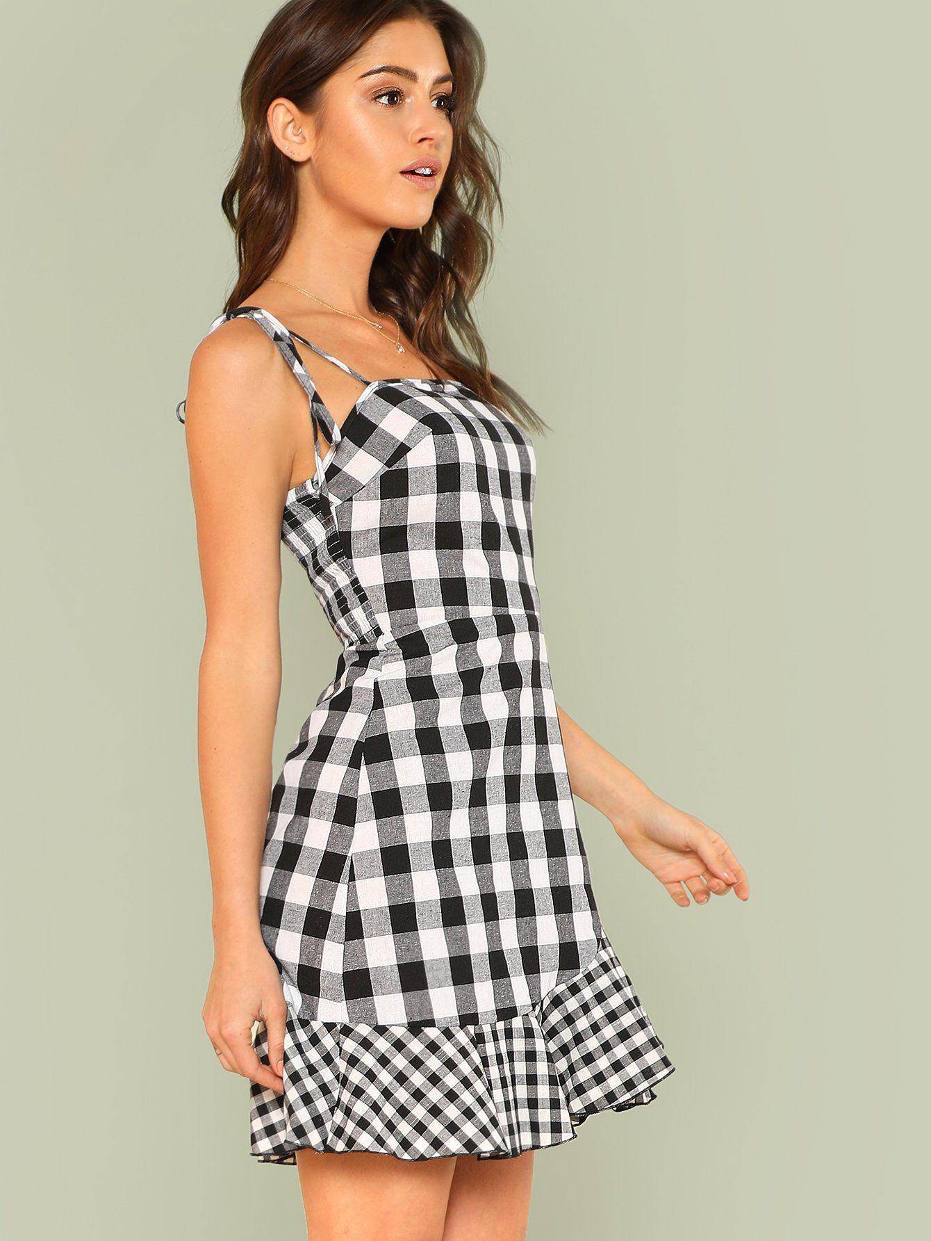d344a8adc0 Asymmetrical Ruffle Hem Gingham Tied Cami Dress -SheIn(Sheinside ...