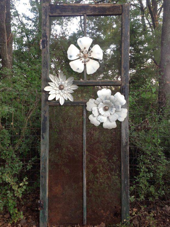 """Farmhouse White Metal Flower 12""""Distressed White Metal"""